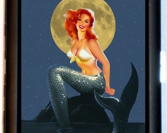 Mermaid Pinup Cigarette Case Moonlight Fantasy Pin-Up Girl Nautical Retro 1950's ID Business Card Credit Card Holder Wallet