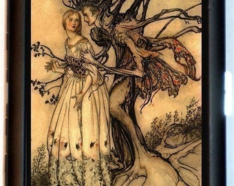 Fairy Tale Illustration Tree Man Cigarette Case Beautiful Damsel Haunted Goth Gothic Eerie Business Card Holder Wallet