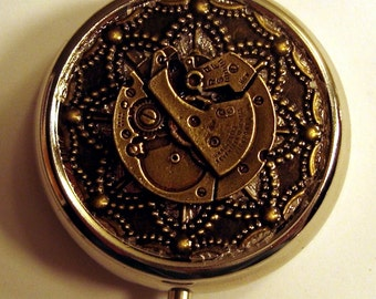Victorian Steampunk IN TIME Watch Clock Pill Case Or Trinket Box New