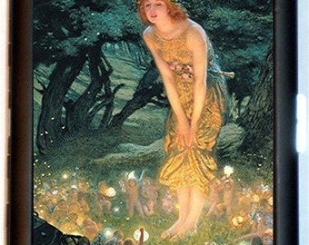 Edwardian Goddess Fairies Cigarette Case Midsummer Eve Edward Robert Hughes Fantasy Art Nouveau ID Business Card Credit Card Holder Wallet