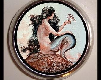 Parisian Mermaid Art Deco Pill box Pillbox Case Holder Trinket Box birth control case Sweetheartsinner