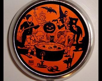 Vintage Halloween Decoration Pill box Pillbox Case Holder Trinket Box Sweetheartsinner Witches, Bats, Cauldren Thirties