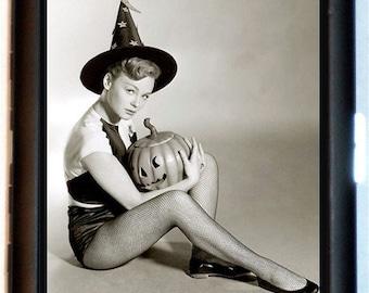 Vintage Halloween Witch Cigarette Case Pumpkin Cute Fun Kitschy Retro Bikini Clad Pinup Model Wallet Business Card Case