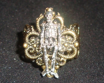 Brass and Pewter Skeleton Psychobilly Steampunk RING New by Sweetheartsinner