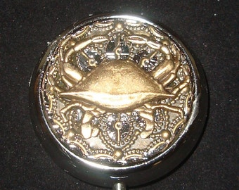 Victorian Steampunk King Crab Cancer Pill Case Or Trinket Box Astrology Cancer Sign NEW