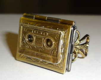 """Victorian Steampunk Style """"Tale of the Tape"""" Retro 80's Cassette Tape Ring"""