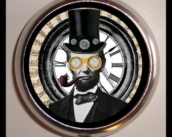 President Abraham Lincoln Victorian Pill Box Case Steampunk Gear birth control case