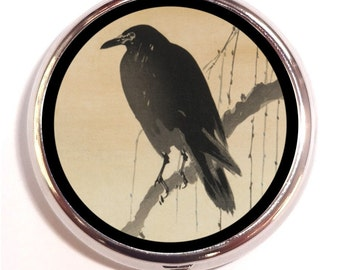 Japanese Crow Woodblock Raven Japan on Branch Pill Box Pillbox Case Trinket Box Vitamin Holder