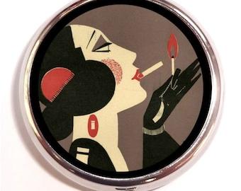 Flapper Pill Box Pillbox Case Art Deco Artwork Smoking Woman Trinket Box Vitamin Holder