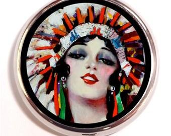 Native American Pill Box Pillbox Case Indian Woman in Headdress Art Nouveau Art Deco Flapper Trinket Box Vitamin Holder Tribal Art