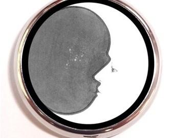 Crescent Moon Pill Box Pillbox Case Trinket Box Vitamin Holder Black and White Celestial Design Cosmic Whimsical Holds Guitar Picks Trinket