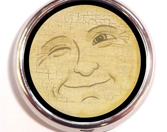 Man in the Moon Pill Box Victorian Winking Moon Face Pillbox Case Trinket Box Vitamin Holder