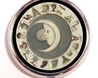 Moon History Celestial Pill Box Pillbox Case Trinket Box Vitamin Holder Medicine Organizer Trinket Box for Guitar Picks Mystical Cosmic