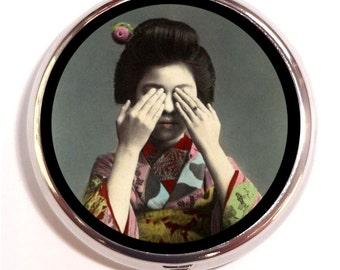 Japanese Geisha Pill Box Pillbox Case Trinket Box Vitamin Holder See No Evil