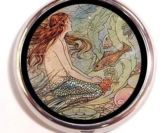 Fantasy Victorian Mermaid Pill Box Pillbox Case Trinket Box Vitamin Holder Siren With Fish Under the Sea Nautical Holds Trinket Box Holder
