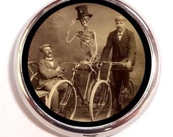 Men and Skeleton Bike Riding Pill Box Pillbox Case Trinket Box Vitamin Holder