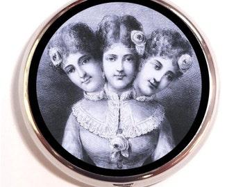 Victorian Sideshow Freak Pill Box Woman Siamese Twins Pillbox Case Three Headed Trinket Box