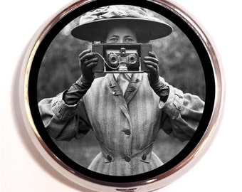 Victorian Photographer Pill Box Camera Woman Photography Pillbox Case Trinket Box Vitamin Holder