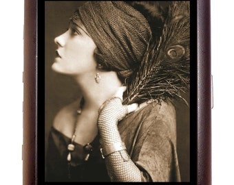 Flapper Art Deco Gypsy Cigarette Case Business Card Case or Metal ID wallet