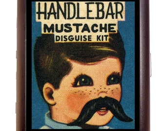 Handlebar Mustache Disguise Kit Cigarette Case Business Card Case or wallet