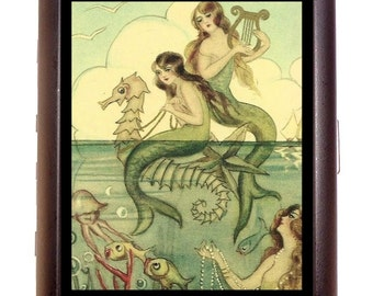 Mermaid Seahorse Cigarette Case Jellyfish Harp Whimsical Nautical Mermaids Art Deco 1920's ID Business Card Credit Card Holder Wallet