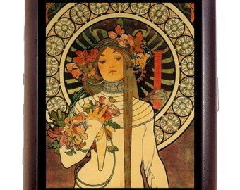 Alphonse Mucha Cigarette Case Art Nouveau Woman with Flowers Fantasy Whimsical ID Business Card Credit Card Holder Wallet