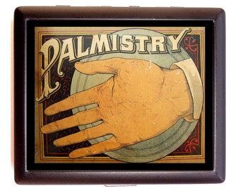 Palm Reading Palmistry Cigarette Case Business Card Case or Metal ID wallet