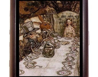 Alice in Wonderland Tea Party Cigarette Case Business Card Case wallet  Fantasy Fairy Tale Fairytale Storybook Mad Hatter