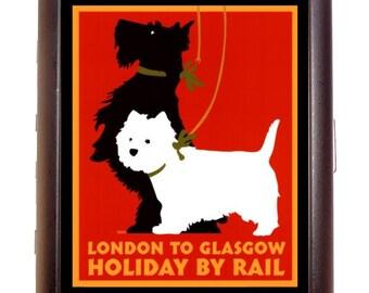 Vintage Travel Poster Scottish Terrier Cigarette Case Business Card Case Wallet