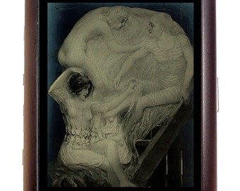 Metamorphic Menage a Trois Cigarette Case Victorian Skull Illusion Business Card Case or Metal ID wallet