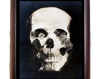 Victorian Skull Illusion Cigarette Case Metamorphic Optical Illusion Skull or Women Goth Dark ID Business Card Credit Card Holder Wallet
