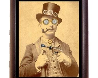Victorian Steampunk Ray Gun Man Cigarette Case Business Card Case wallet