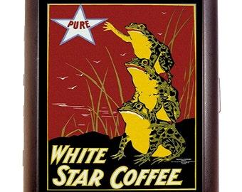 Vintage Frog Coffee Ad Cigarette Case Business Card Case wallet