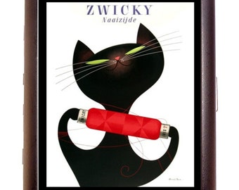 Black Cat Ad Cigarette Case Retro Kitsch 1950's Old Advertising Image Kitty Kittens ID Business Card Credit Card Holder Wallet