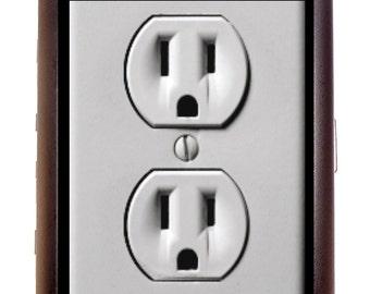 Power Outlet Cigarette Case or Business Card Case Wallet Electric Pop Art Design ACDC Edison