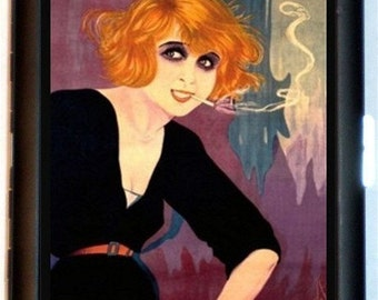 Redhead Smoking Art Deco Flapper Cigarette Case Wallet Business Card Card