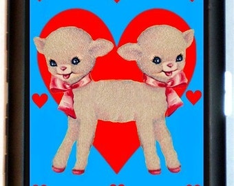 Siamese Twins Cigarette Case Conjoined Lamb Hearts Sideshow Animal Kawaii Kitsch Circus Freak ID Business Card Credit Card Holder Wallet