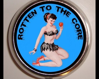 Rotten to the Core Pill box Pillbox Case Holder Eve Evil Pinup Psychobilly
