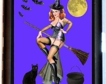 Witch with Black Cat Cigarette Case or Wallet or Business Card Case Vintage Halloween Bats and Moon Witch on a Broomstick