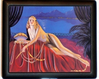 Reclining Flapper Cigarette Case Business Card Holder Wallet Jazz Age Beauty Pin Up Girl