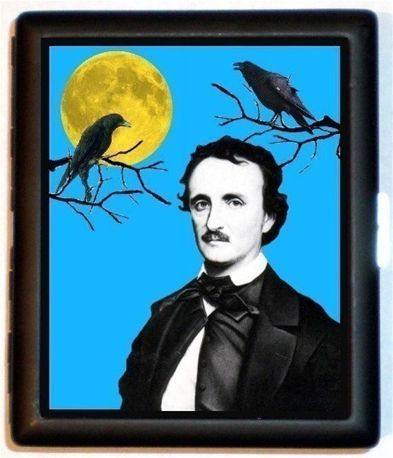 Edgar Allan Poe Cigarette Case or Wallet with Full Moon and Ravens on branches Poet Author Master of Horror Black Metal