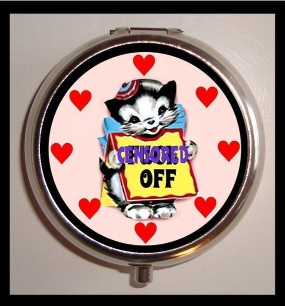 Bad Pussy Cat Pill box Pillbox Case Adorable Kitty Cat F You Kawaii Psychobilly