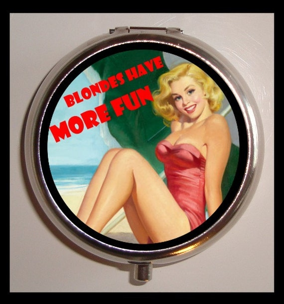 Blondes Have More Fun Pill Box Pill Case Holder New Retro Pinup Kitsch birth control case
