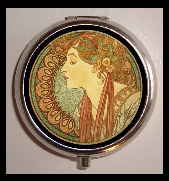 Mucha Gypsy Pill box Pillbox Case Edwardian Ivy Cameo Art Nouveau Goddess Bohemian Boho Holder for Vitamins Drugs Birth Control Stash Box