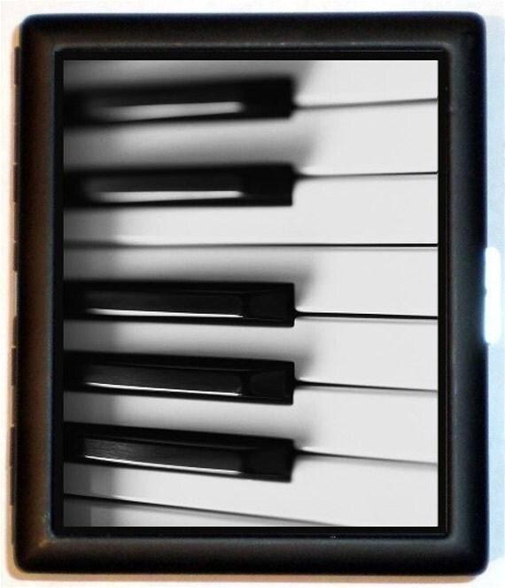 Piano Keys Cigarette Case  Pop Art Musician Music Wallet Business Card Case Piano Player Ebony & Ivory