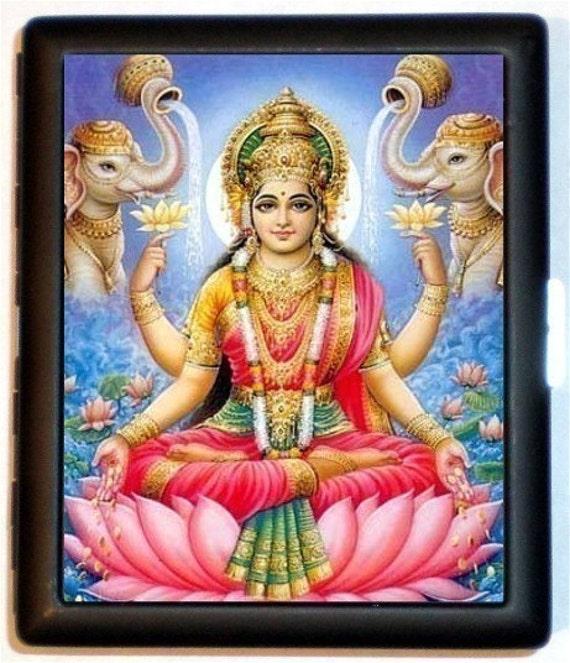 Lakshmi Hindu Cigarette Case Hinduism Goddess Lotus Leaf Wealth Love Mysticism Spirituality ID Business Card Credit Card Holder Wallet