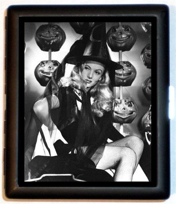 Sexy Witch Halloween Pumpkins Photograph 1950's Pinup Girl Art Design Bad Girl Rockabilly Wicca ID Wallet or Cigarette Black metal Case