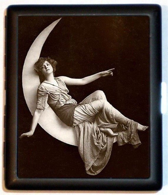 Paper Moon Cigarette Case Art Deco Crescent Moon Woman Celestial Edwardian Gypsy Old Photo ID Business Card Credit Card Holder Wallet