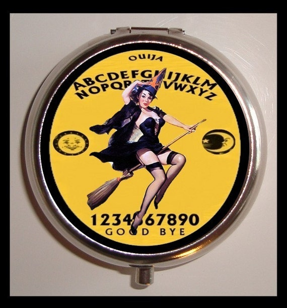 Ouija Board Witch Pill box Pillbox Case Holder Sweetheartsinner Pinup Pyschobilly
