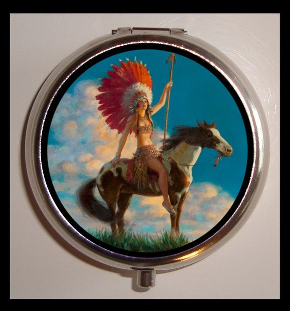 Indian Princess Pill Case Pinup Native American Pill Box Country Western
